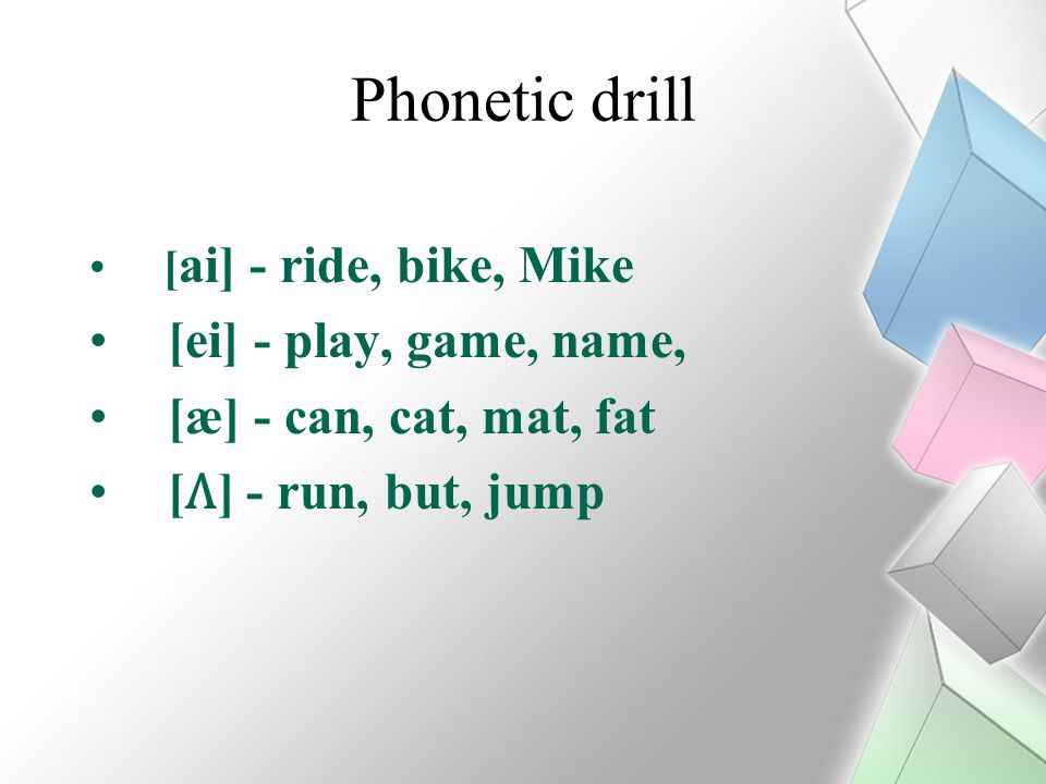 Phonetic drill [ei] - play, game, name, [æ] - can, cat, mat, fat